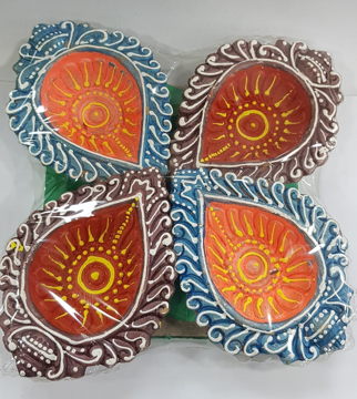 Best Painted Large Diya 4 Pack