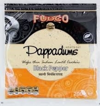 Picture of Fudco Black Pepper Urad Papad (Pappadums) 200g