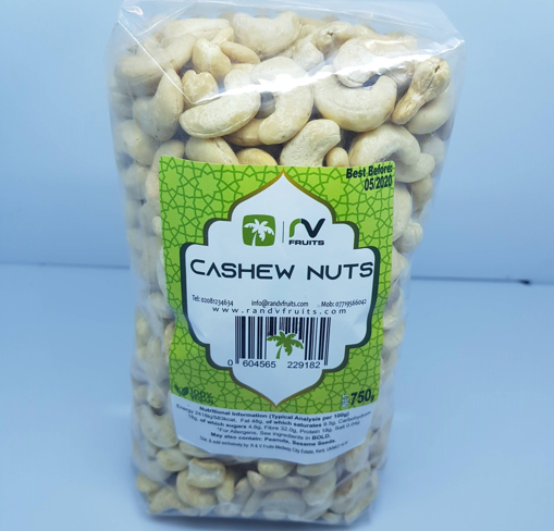 RV Fruits Natural Cashew Nuts 750g